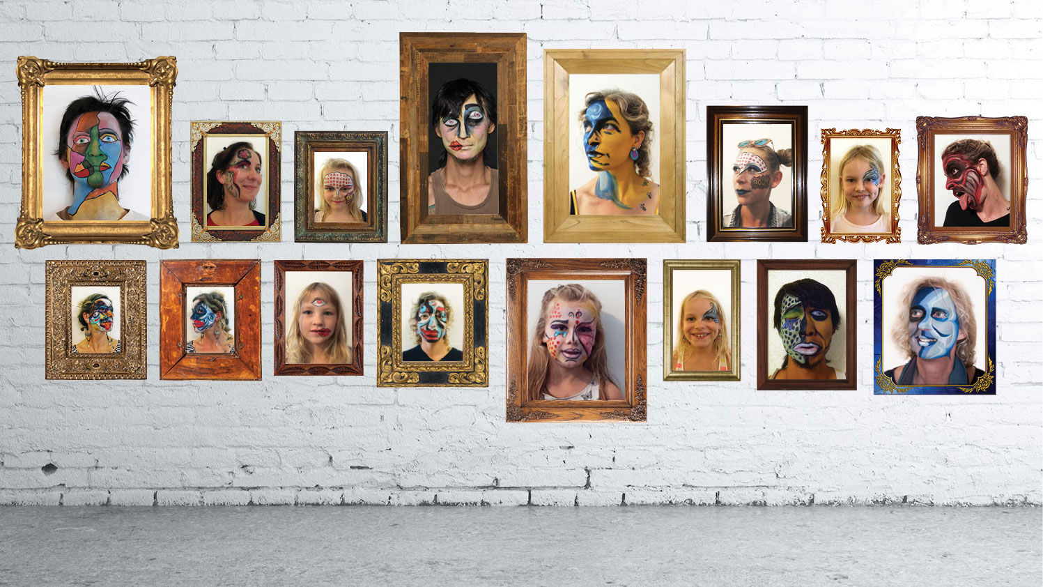 Face painted portraits in frames